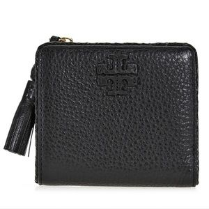 Tory Burch Taylor Leather Mini Wallet Black